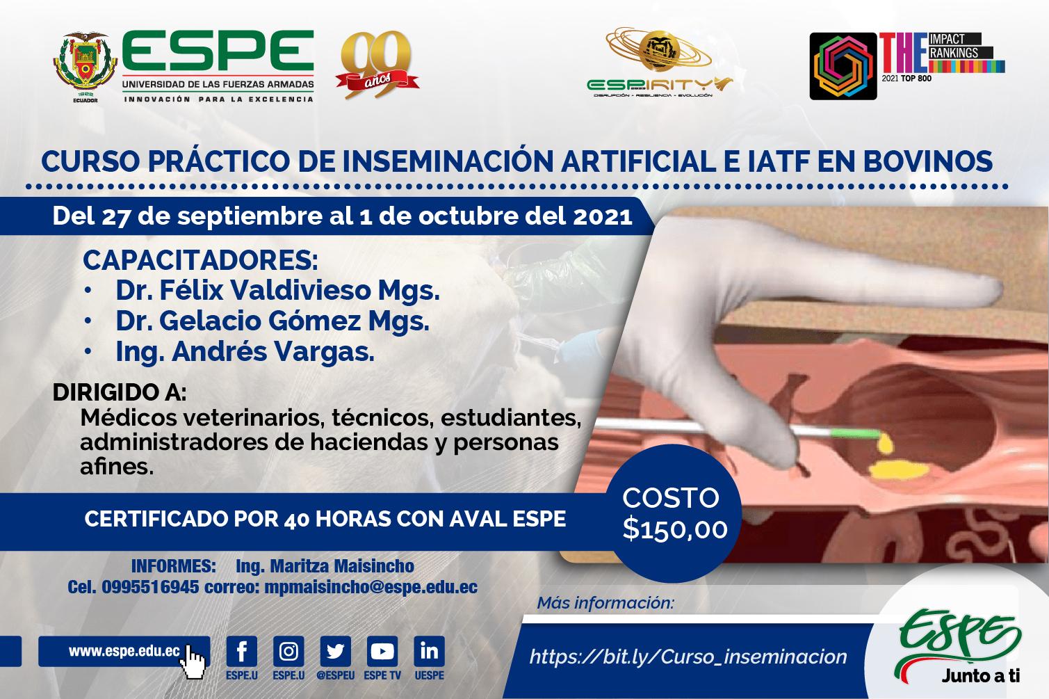 Invitación a CURSO PRÁCTICO DE INSEMINACIÓN ARTIFICIAL E IATF EN BOVINOS
